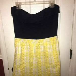 Lily Pulitzer Strapless Dress Sz L Navy and Yellow